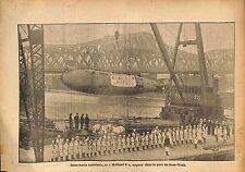 Sous-Marin Submarine U-Boat Holland 9 Port New-York USA WWI 1917 ILLUSTRATION