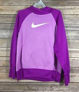 Nike Girls Therma Fit KO 3.0 Training Fleece Lined Hoodie Youth Large Purple K70