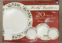 New Cambridge Potteries Holly Traditions 20 PC Set Christmas Dishes 22k Gold