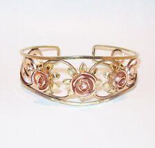 Vtg Probst Cuff Bracelet Yellow Rose Gold Filled 3D Flower Scroll Filigree Open