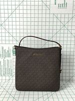 MICHAEL KORS JET SET TRAVEL LARGE MESSENGER CROSSBODY MK SIGNATURE BROWN