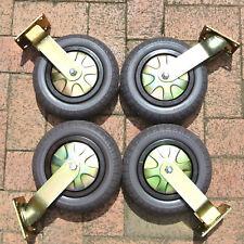 """4 x 10"""" Solid Castor Wheels  4 x Swivel for Heavy Duty Trolley 250kg Load each"""