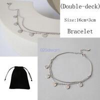 Genuine 925 Sterling Silver Adjustable Bracelet 5 Dangling Circles Discs Chain