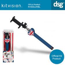 KITVISION Union Jack Universal SELFIE STICK CABLATO pulsante blu per Apple andrio