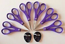 "Lot of 6 PURPLE Home Accents 5"" Scissors MADE IN USA + Fiskars Sharpeners New"