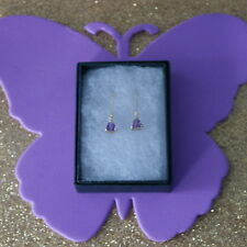 BEAUTIFUL 9CT YELLOW GOLD TRILLION NATURAL AMETHYST & DIAMOND EARRINGS IN  BOX