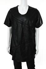 En Noir Mens Black Leather Pin Tuck Shirt Size 2 Extra Large New 85262