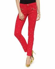 NWT JUICY COUTURE Skinny Mid-rise Studded Jeans, 26W. Red, $198