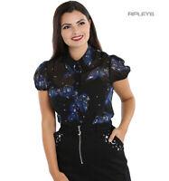 Hell Bunny 50s Shirt Top Black Gothic TWILIGHT Bats & Stars All Sizes
