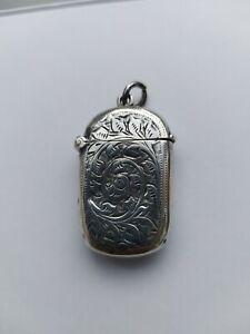 Antique Victorian solid silver vesta case Birmingham 1901 by REYNOLDS & WESTWOOD