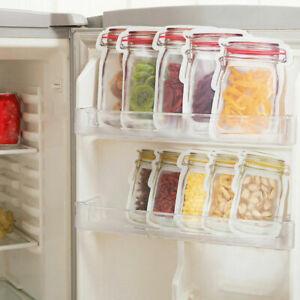 10Pcs 3Size Mason Jar Food Bottle Storage Grip Self Seal Resealable Zip Lock Bag