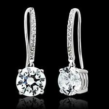 s067 WOMENS STERLING SILVER EARRINGS DANGLE DROP SIMULATED DIAMONDS LEVERBACKS