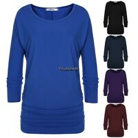 Women O-Neck 3/4 batwing Sleeve Tops Blouse t-shirt casual loose tee Soft
