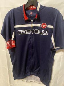 castelli jersey Large full zip. Blue. Short sleeve