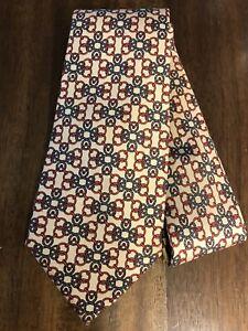 Hermes Paris Link Pattern 760 UA Beige Black Red Color Silk Classic Necktie Tie