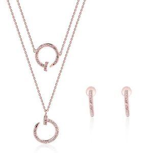 Rose Gold crystal designer inspired Pendant multi layered necklace set