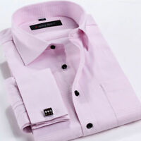Mens Fashion Formal Slim Casual Long Sleeve French Cuff Business Shirts