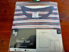Mens Blue Striped Short Sleeve and Shorts Knit Sleep Set Size S