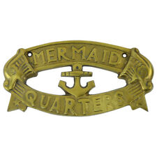 Solid Brass Ship Plaque MERMAID QUARTERS nautical boat anchor decor sailing sign