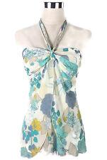 BARDOT Top - Boho Vintage Style Floral Halter Tie Chiffon White Blue Yellow - 12