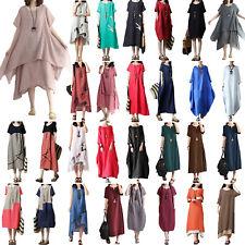 Plus Womens Summer Baggy Cotton Linen Casual Loose Long Maxi Dress Boho Kaftan