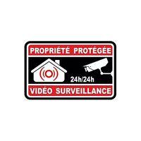 Autocollant propriété sous vidéo surveillance alarme logo n°8 sticker 10x10 cm