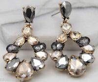 1 Pair Elegant Brown Crystal Rhinestone  Ear Drop Dangle Stud long Earrings 258