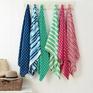 """Beach Towels - Striped - Polka Dots - TWO PACK - 30"""" x 60"""" - Blue, Red, Pink"""