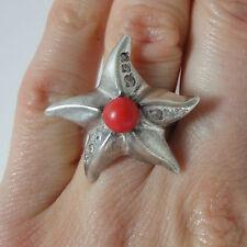 Coral Rojo Anillo Tamaño S Estrella De Mar Anillo oxidado Anillo De Plata Esterlina Con Coral 925