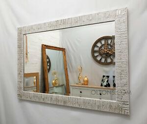 John Lewis Blanca Wood Frame Wall Mirror Bevelled Glass 106x76cm Silver White