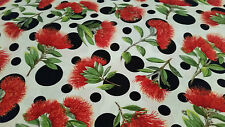 Red Native NZ Flower With Large Dots Fat Quarter Quilting Fabric 56cm x 50cm