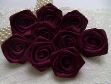 """1.5"""" Rose Wine Burgundy Satin Ribbon Roses Large Flowers-Lots 24 Pcs (R0019E)"""
