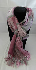 Fringed scarf purple gray pleated fabric pattern