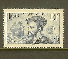 "FRANCE STAMP TIMBRE N° 297 "" JACQUES CARTIER AU CANADA 1F50 BLEU "" NEUF xx TB"