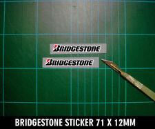 Motorsport Impreso Adhesivo Calcomanía cortar para adaptarse a Bridgestone contorno blanco 70x11x2mm
