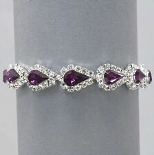 Vintage Inspired Estate Purple Amethyst Rhinestone Bracelet  (Sparkle-1538-U)