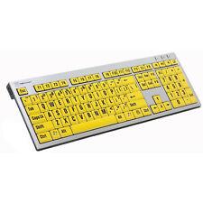 Low Vision Large Big Print Slim Keyboard PC USB Wired Black Yellow Keys Computer