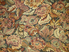 """ONE YARD ALL OVER FLORAL TAPESTRY FABRIC BROWN RUST MULTI UPHOLSTERY 54"""" w BTY"""