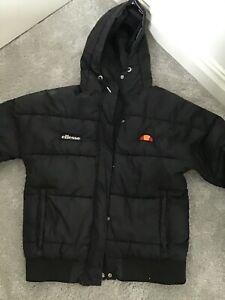 Ladies Ellesse Black Winter Hooded Coat Size Uk 4