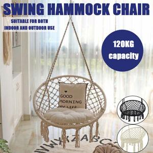 Deluxe Hammock Chair Macrame Cotton Swing Bed Relax Outdoor Hanging Indoor AU