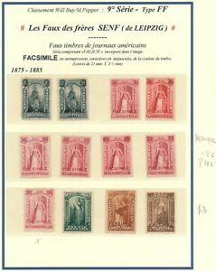U.S.A. 1875 - 1885, 12 DIFF. SENF BROTHERS FORGERIES NEWSPAPERS REVENUES. #M52