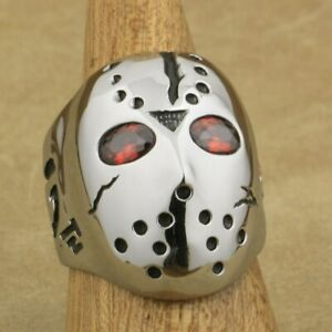 316L Stainless Steel Halloween Jason Hockey Red CZ Eyes Mens Ring 3F301A