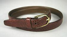 Belt Women Size XS 26.5 In Snake Skin Red Brown Leather Taiwan Goldtone Buckle