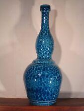 Grand vase bouteille céramique moderniste vernissée bleu signé BOUHEY 1973