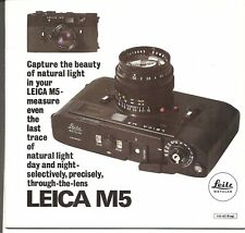 LEICA M5 Brochure English 110-87c Canada ed. Fresh condition