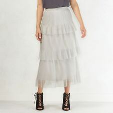 Womens Lauren Conrand  Gray Layered Tulle Tiered Skirt Size Small