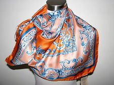 "NWT AUTH VERSACE 100% SILK SQUARE 35""X35"" ORANGE, PEACH&BLUE SCARF made in Italy"