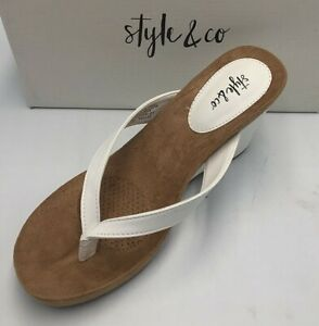Style & Co Women's Chicklet Wedge Thong Sandals White Pick Size