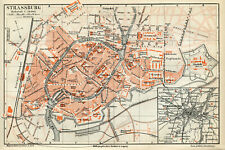 1890 Map of Strasbourg; Original Antique Print Map France