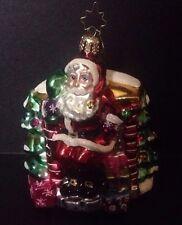 """Vintage Christopher Radko Christmas Ornament """"Santa Arrives"""" Metal Tag 4"""""""